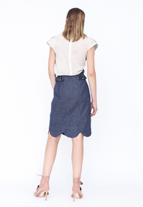 Straight skirt with frilled trims