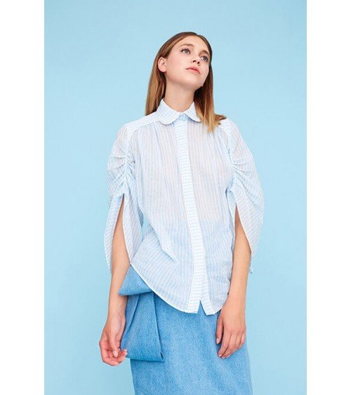 Gathered piped shirt