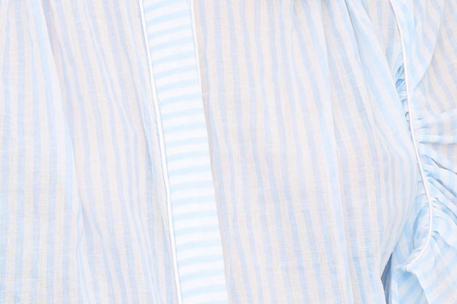 Chemise froncée passepoilée
