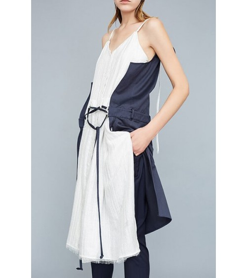 Le 907 - Low-necked, asymmetric and belted dress