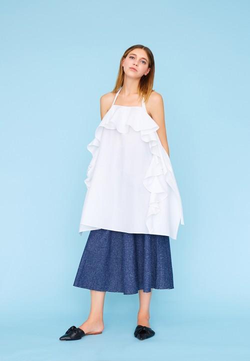 Backless frilled dress