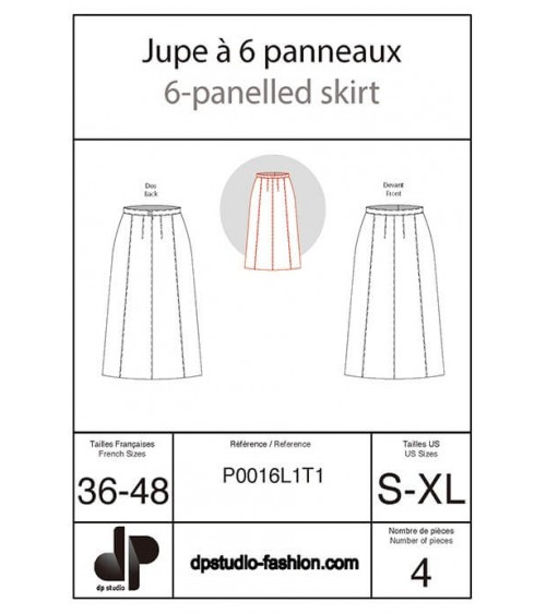 Six-panel skirt