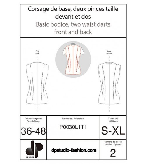 Bodice base with two front and back waist darts