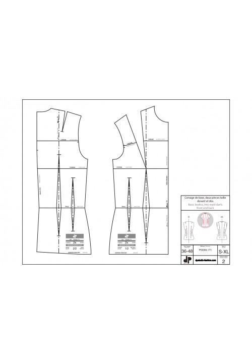 Corsage de base, deux pinces taille devant et dos