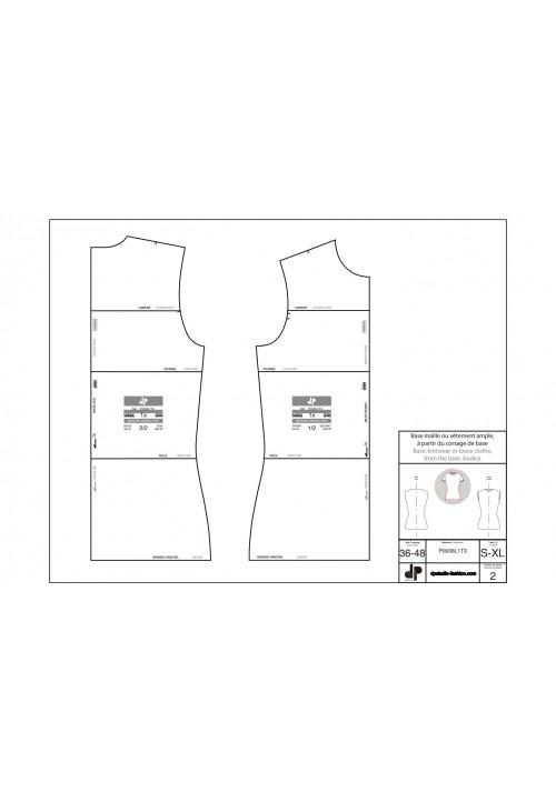Knitwear or loose garment base using the bodice base pattern