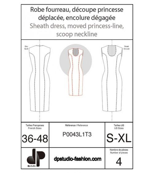 Princess-line sheath dress with low front neckline