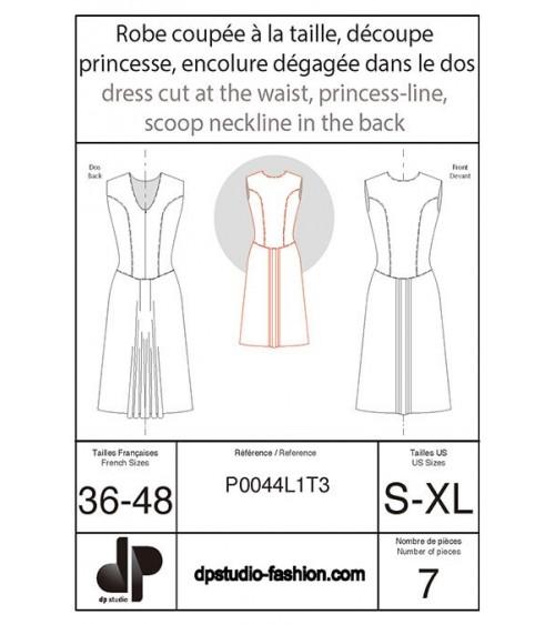 Robe coupée à la taille, découpe princesse, encolure dégagée dans le dos