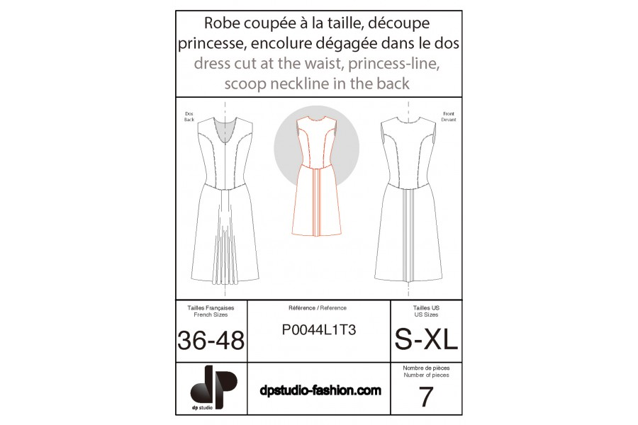 Dress cut at the waist with princess seams on the bodice and low back neckline
