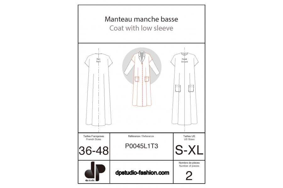 Coat with dropped-shoulder sleeves starting from the bodice base pattern