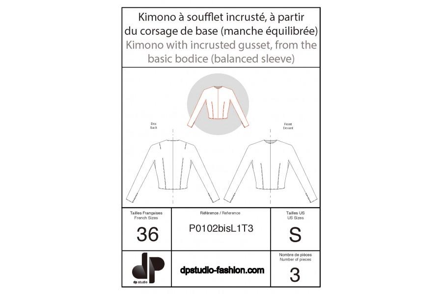 Kimono à soufflet incrusté, à partir de la base du corsage (manche équilibrée)