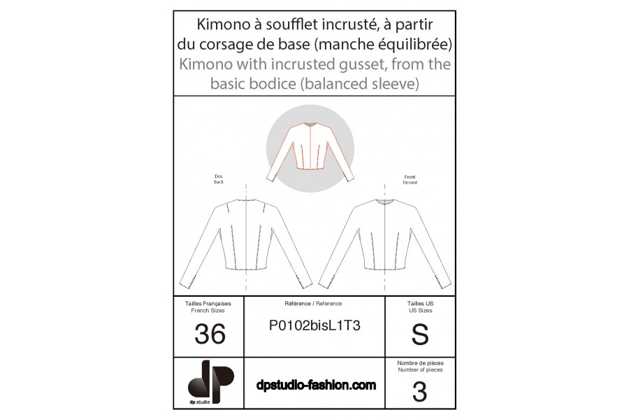 Kimono sleeve with inset gusset (knitwear or loose garment base pattern)