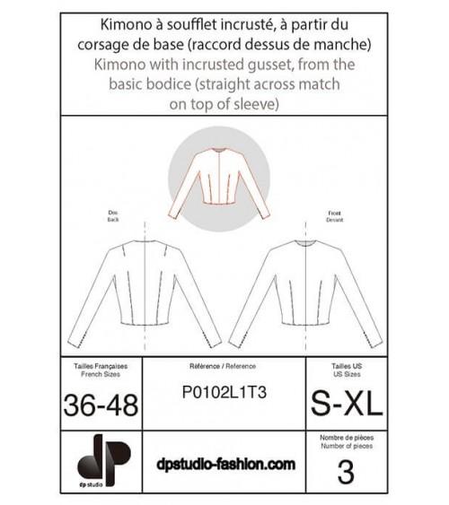 Kimono à soufflet incrusté, à partir de la base du corsage (raccord dessus de manche)