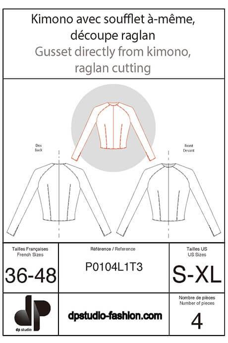 1900490fa258 Kimono sleeve with in-one gusset and raglan seam