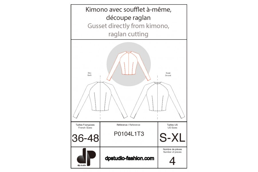Kimono sleeve with in-one gusset and raglan seam