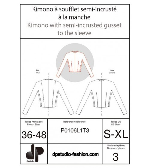Kimono sleeve with gusset half inset on the sleeve