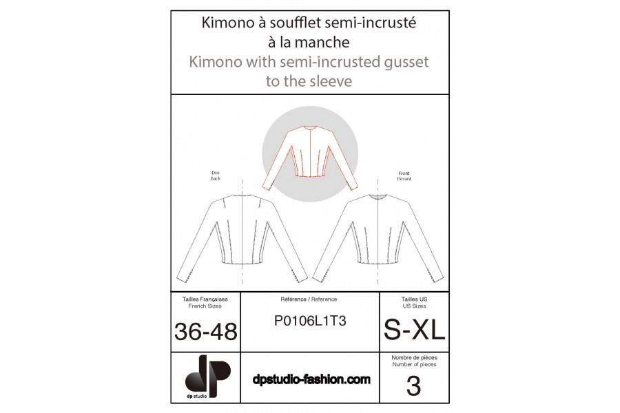 Kimono sleeve with gusset half inset on the sleeve