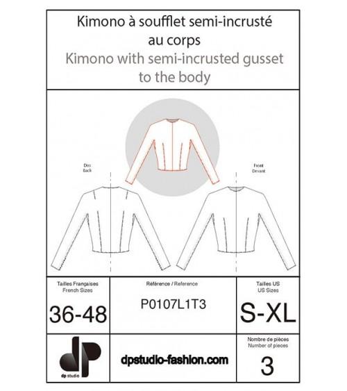 Kimono à soufflet, semi-incrusté au corps
