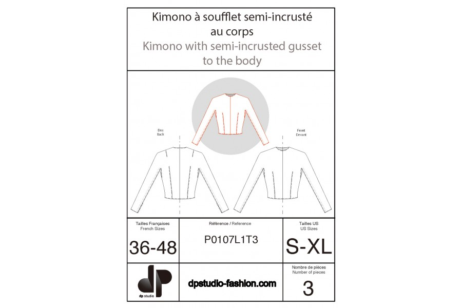 Kimono sleeve with gusset half inset on the body