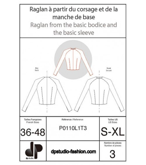 Raglan construction from the bodice and short sleeve bases
