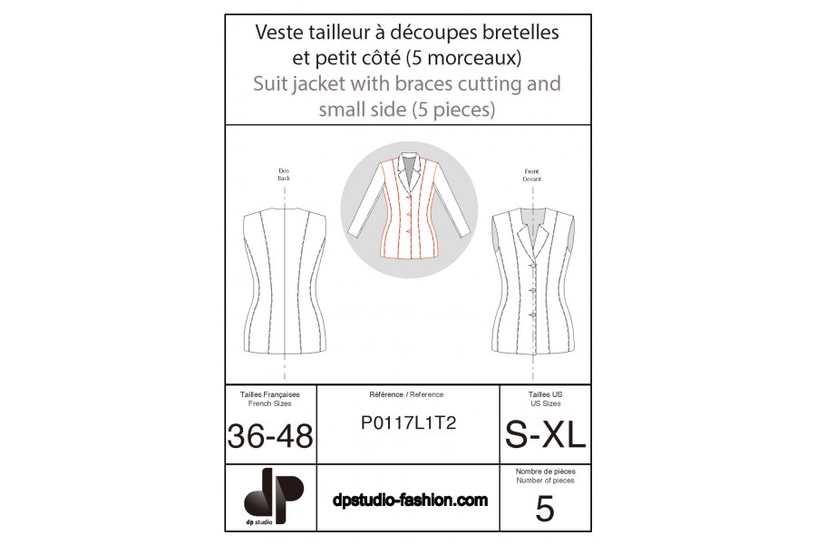 Tailored jacket with shoulder strap seams and side piece (5 pieces)