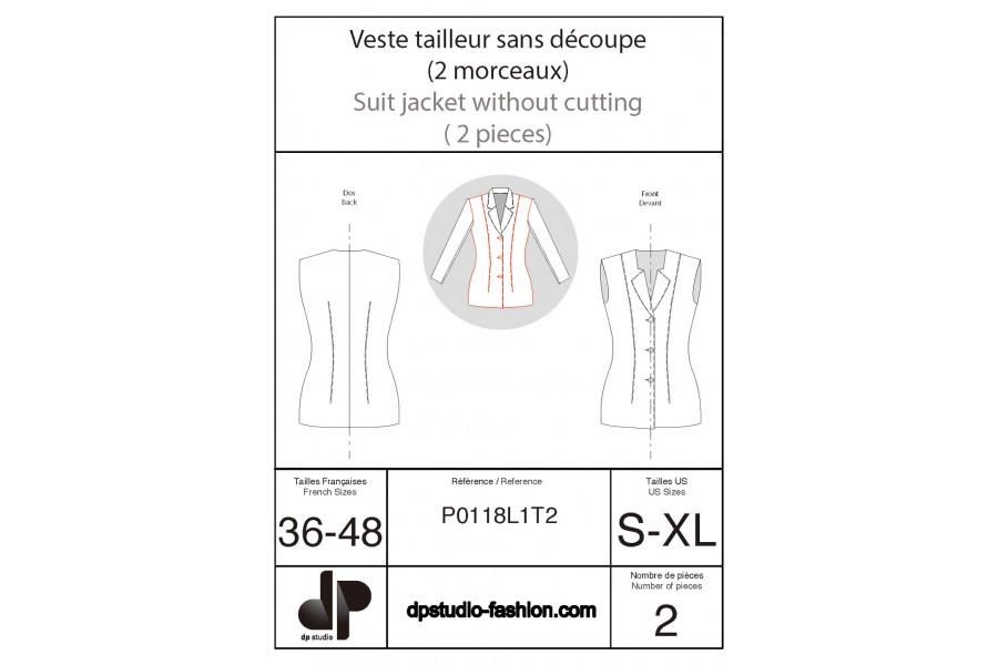 Veste tailleur sans découpe ( 2 morceaux )