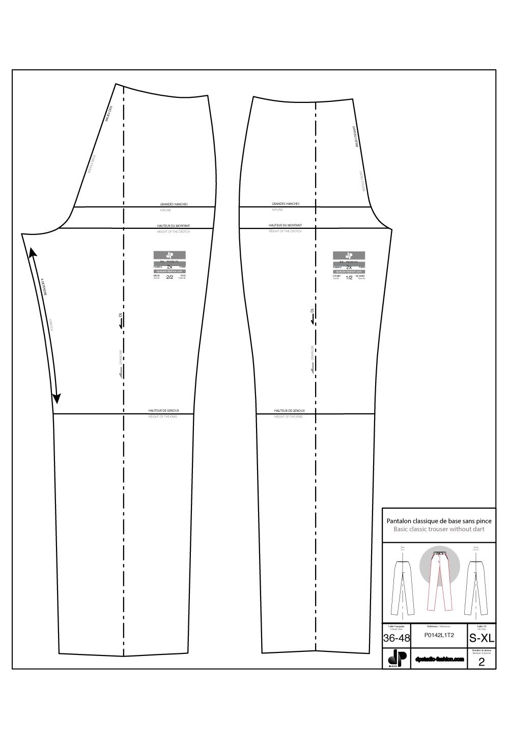 Classical Trouser Base Pattern Without Darts