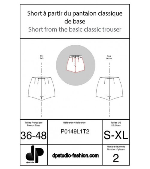 Short, à partir du pantalon classique de base à pinces