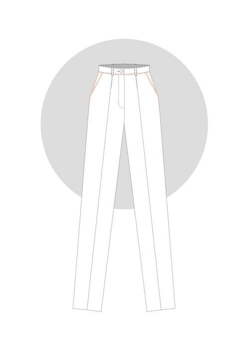 Slanted side pocket on trousers