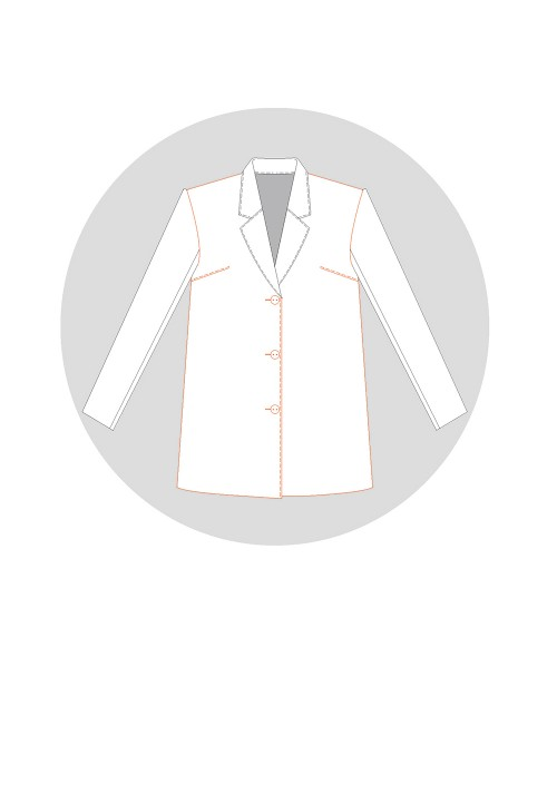 Veste tailleur formant un léger trapèze avec un pivot de la pince d'épaule