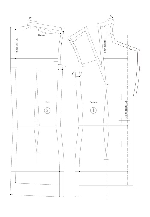 Seam allowance value for the three-piece tailored jacket lining (luxury)