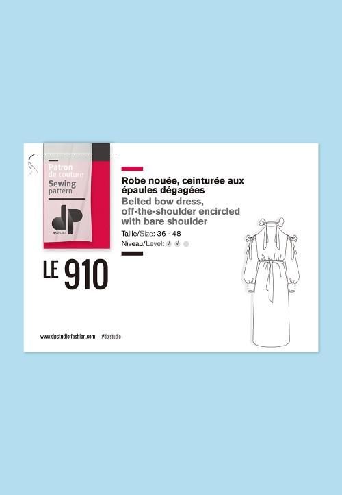 Belted bow dress, o-the-shoulder encircled with bare shoulder