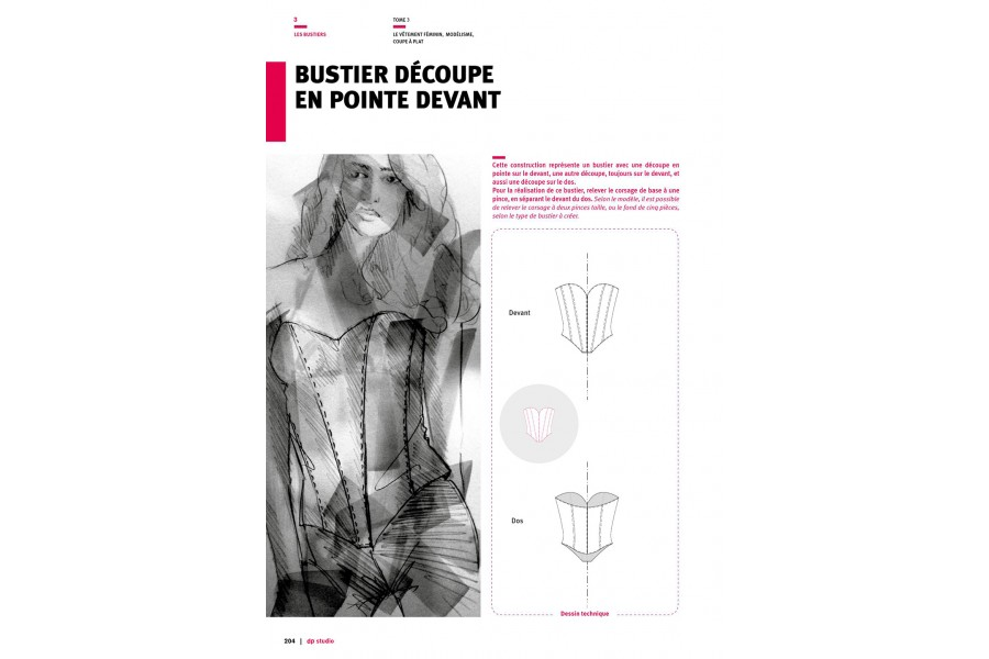 Bustier with pointed front hem