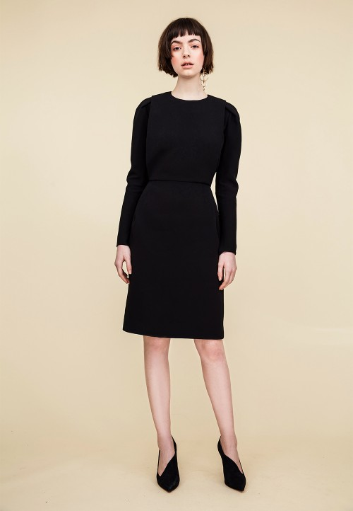 Sheath dress with knife pleats