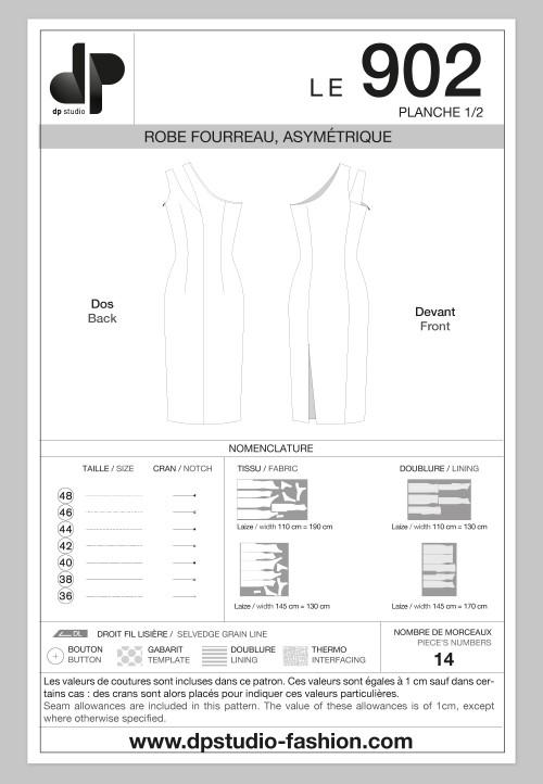Robe fourreau asymétrique
