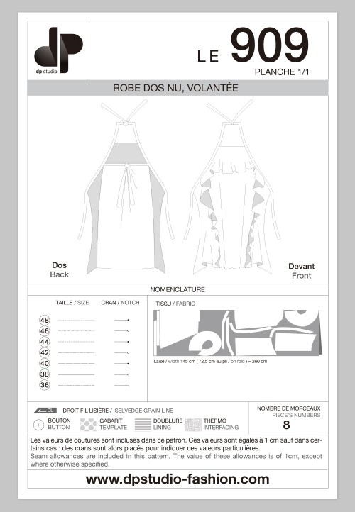 Le 909 Robe dos nu, volantée