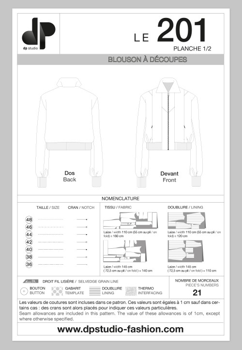 Le 201 - Bomber jacket with seam detail