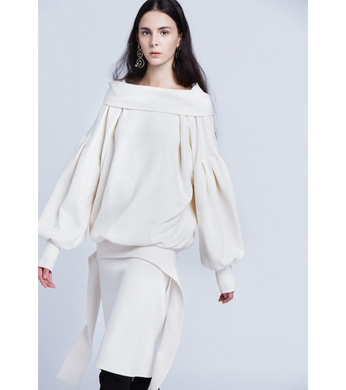 Le 000a and b - Long dress with large collar and blouse-effect top