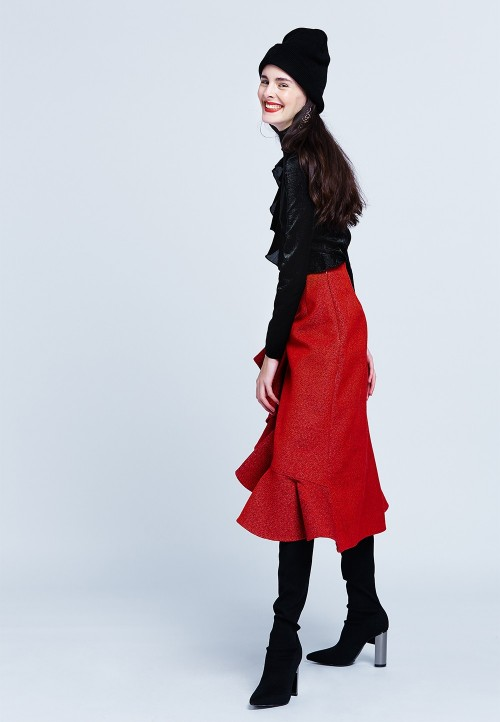 Long asymmetric skirt with ruffle detail