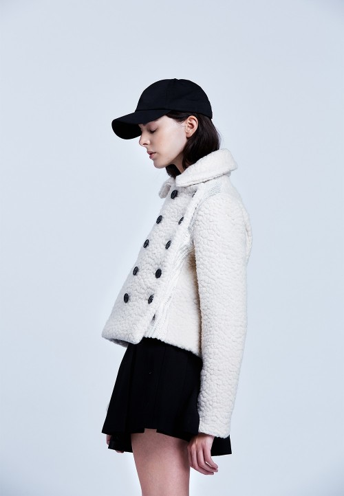 Asymmetric double-breasted pea-coat
