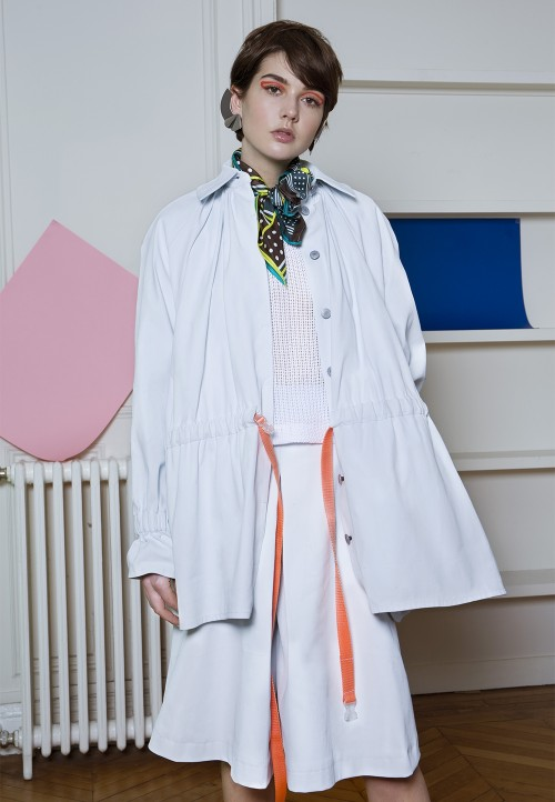 Parka with raglan-effect sleeves and elasticated waist