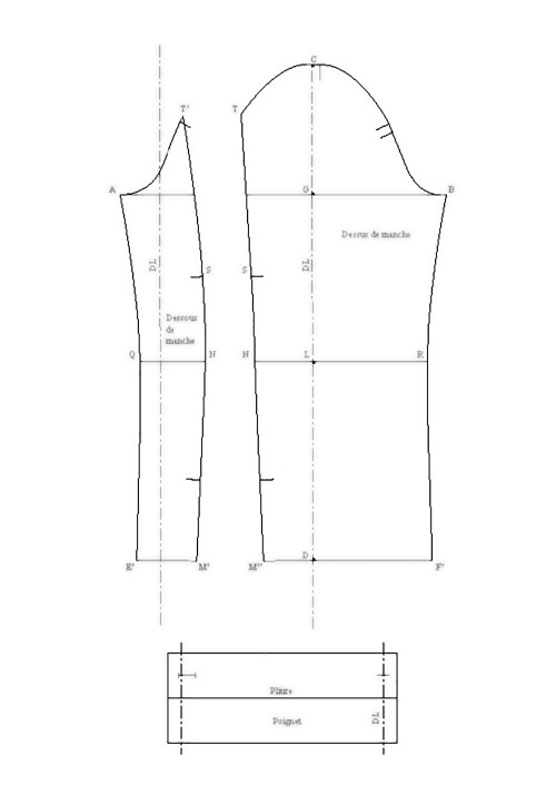 Dropped sleeve with elbow seam