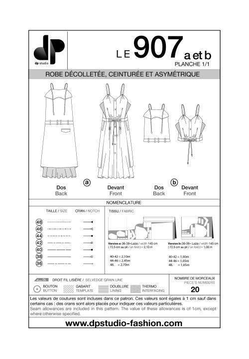 Robe décolletée, ceinturée et asymétrique