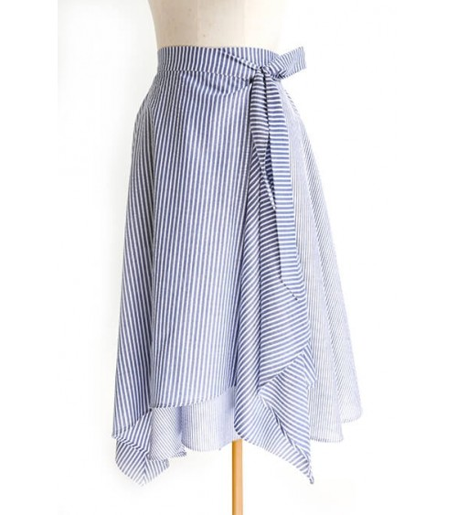 Asymmetric and belted flared wrap skirt