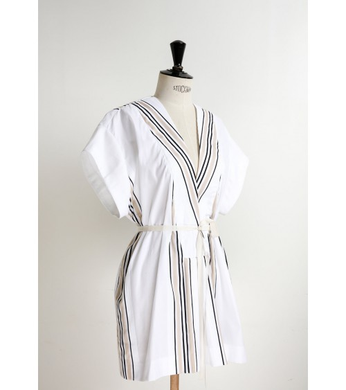 Tunic/dress with low-set sleeves and plunging neckline