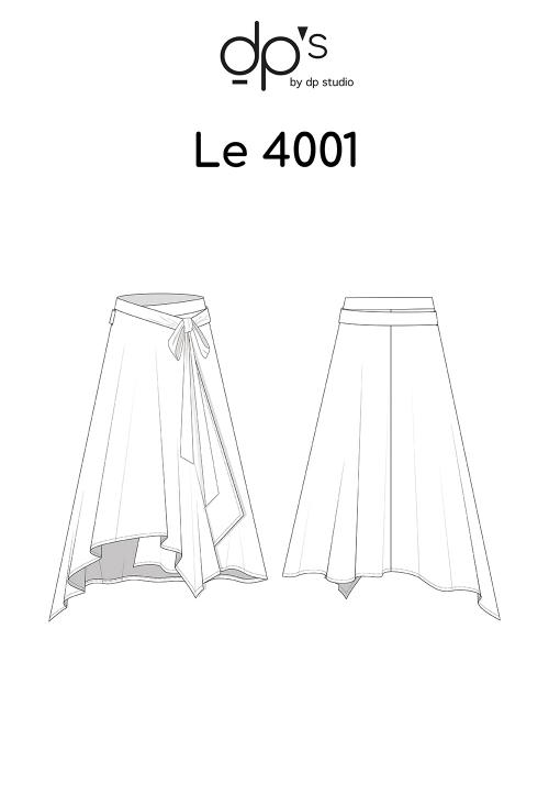 Le_4001_PDF_Jupe portefeuille asymétrique évasée et ceinturée