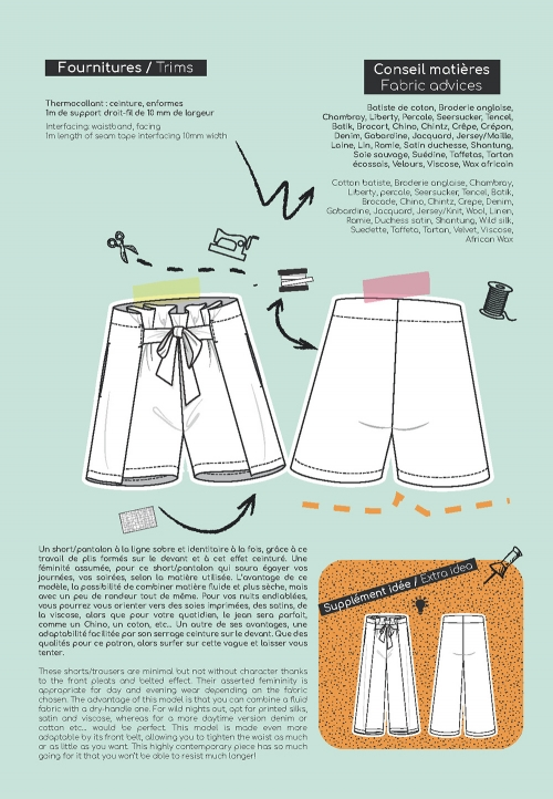 Le_3002_PDF_Short/Pantalon ceinturé, à plis