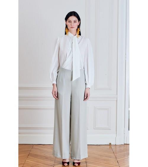 Le 308 Théo - Pantalon taille haute Crème vert d'eau motif chevron