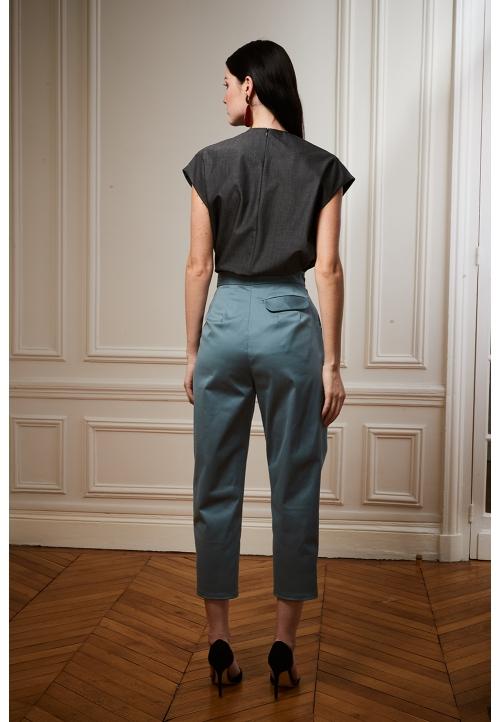 Le 305 Jules Pantalon ceinturé à plis Bleu canard