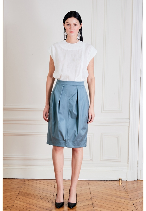 Le 412 EMMA Straight skirt with yoke and flat pleats