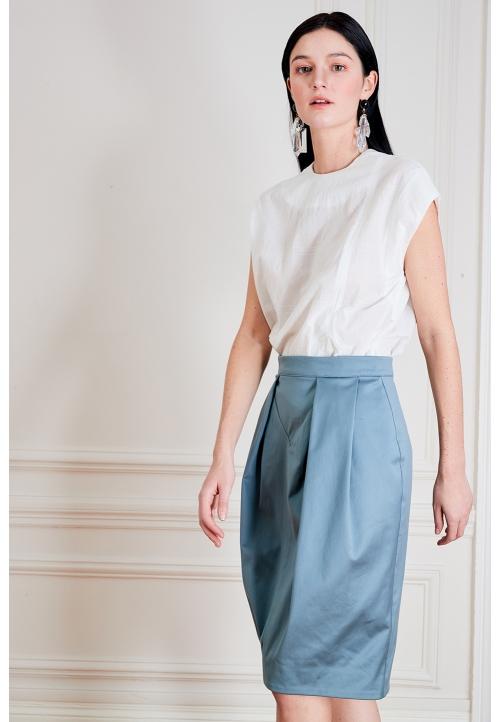 Le 402 EMMA Jupe droite à empiècement et plis couchés/à plis couchés bleu canard
